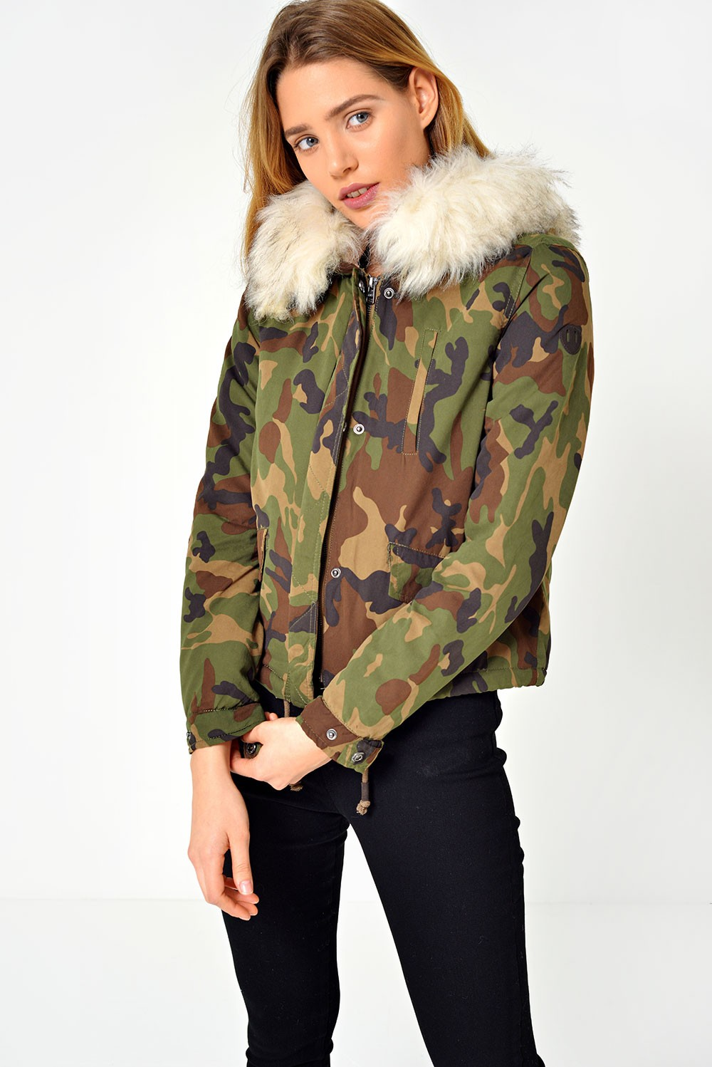 Only Skylar Short Fur Parka Coat in Camiflouge | iCLOTHING