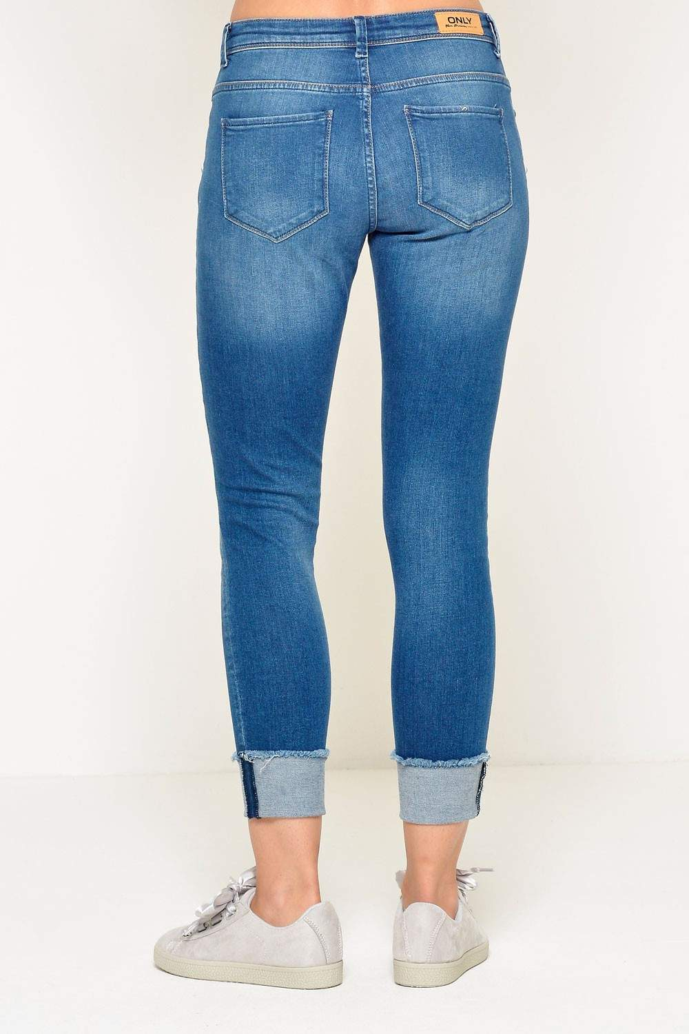 Only Carmen Short Ankle Fold Skinny Jeans   iCLOTHING