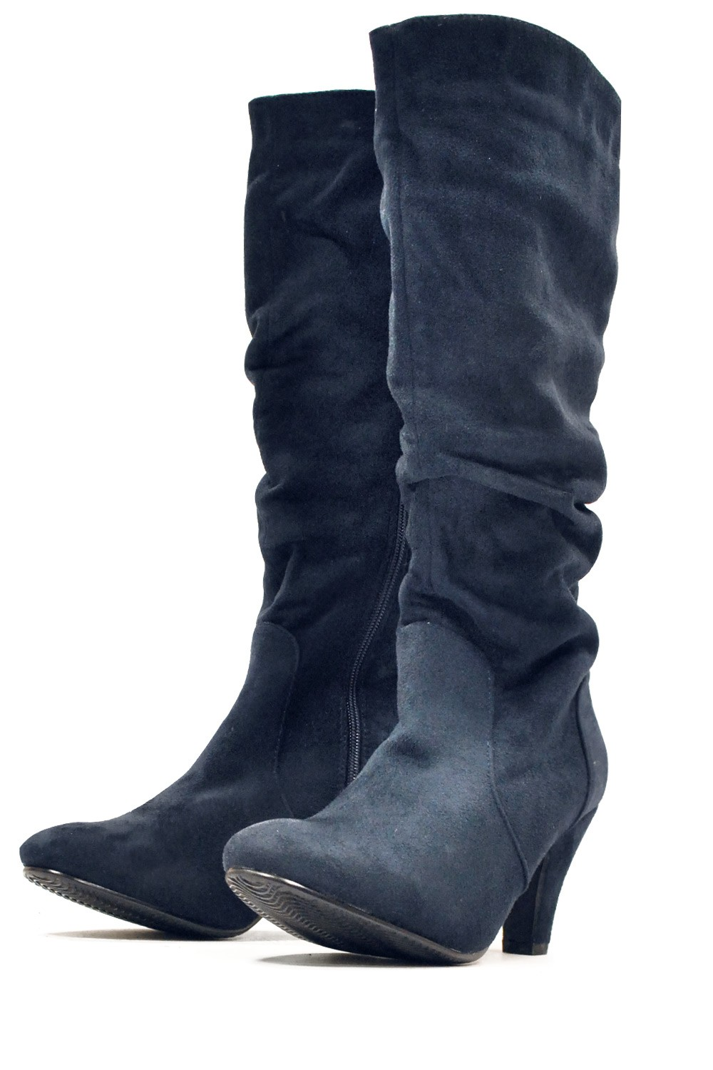 sole city feme knee high boots in navy iclothing