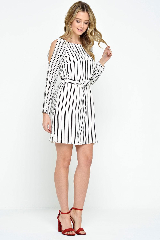 60d9f4473 Diva Rosalynn Striped Cold Shoulder Dress in Stripe