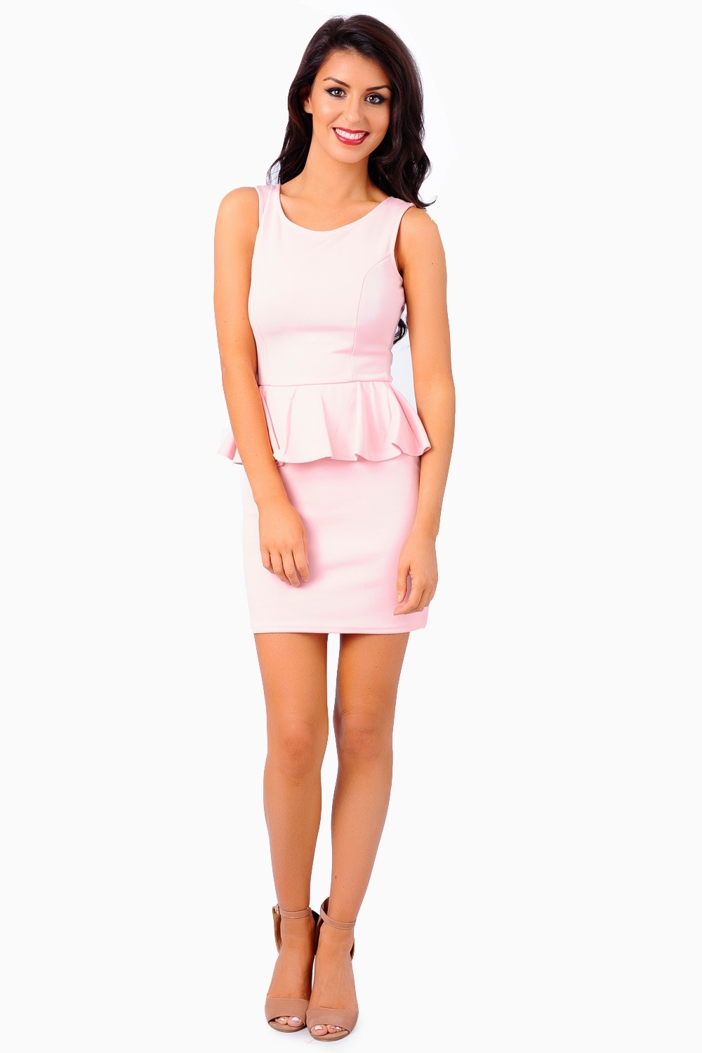 Jane Peplum Bodycon Dress in Baby Pink