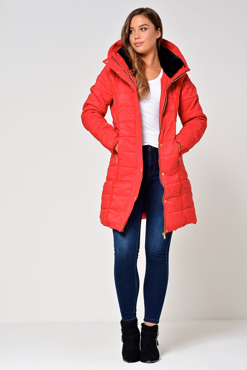 Alexi Long Belted Puffer Jacket in Red | iCLOTHING