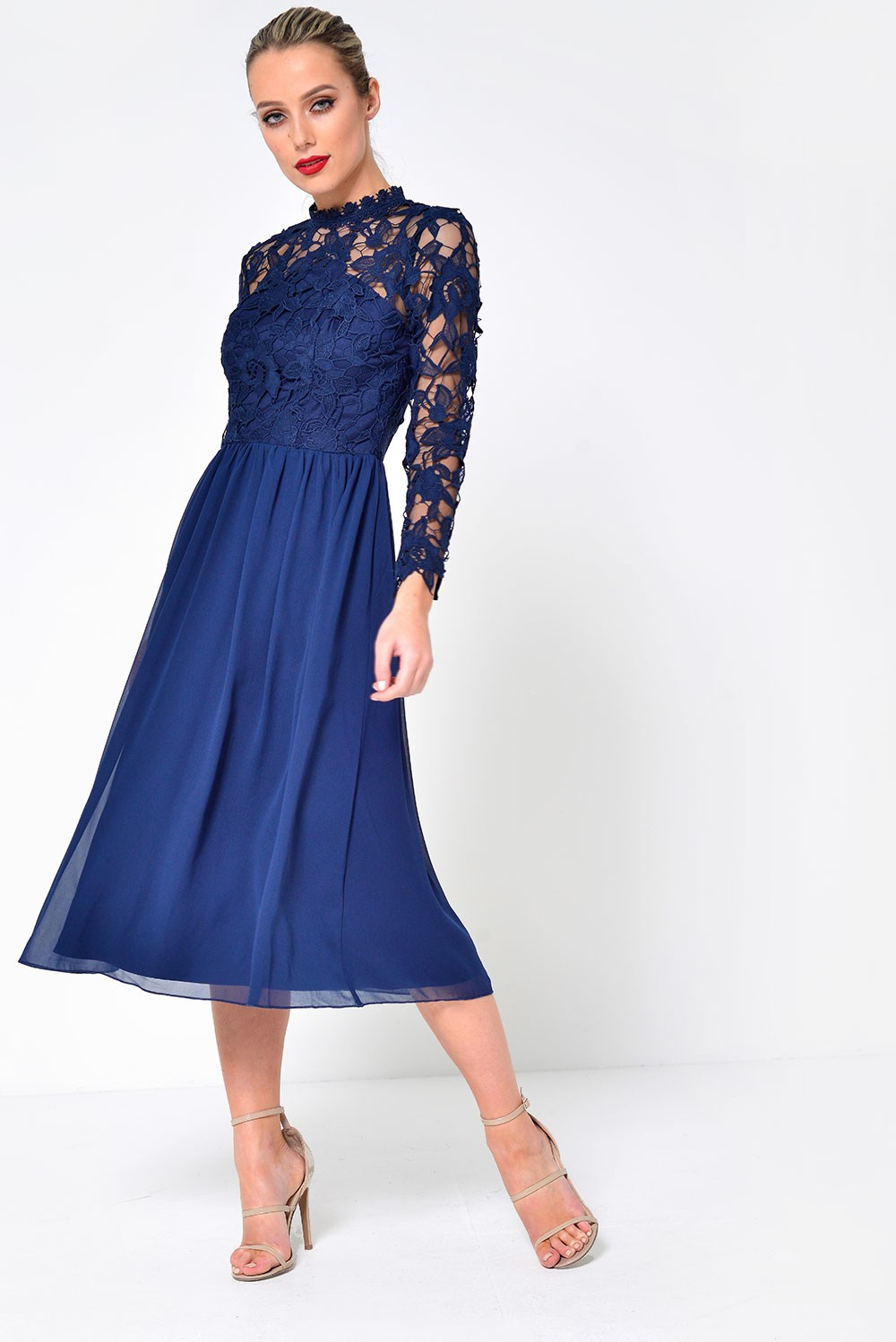 3a815858f94 ... Chi Chi 2 in 1 High Neck Midi Dress with Chiffon Skirt in Navy. Video