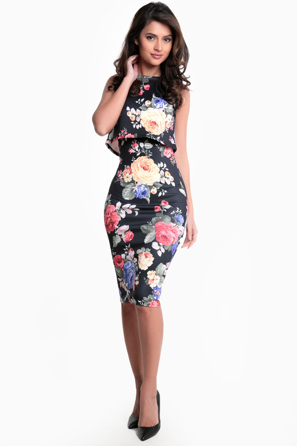 Electra Rose Print Bodycon Dress In Black Iclothing