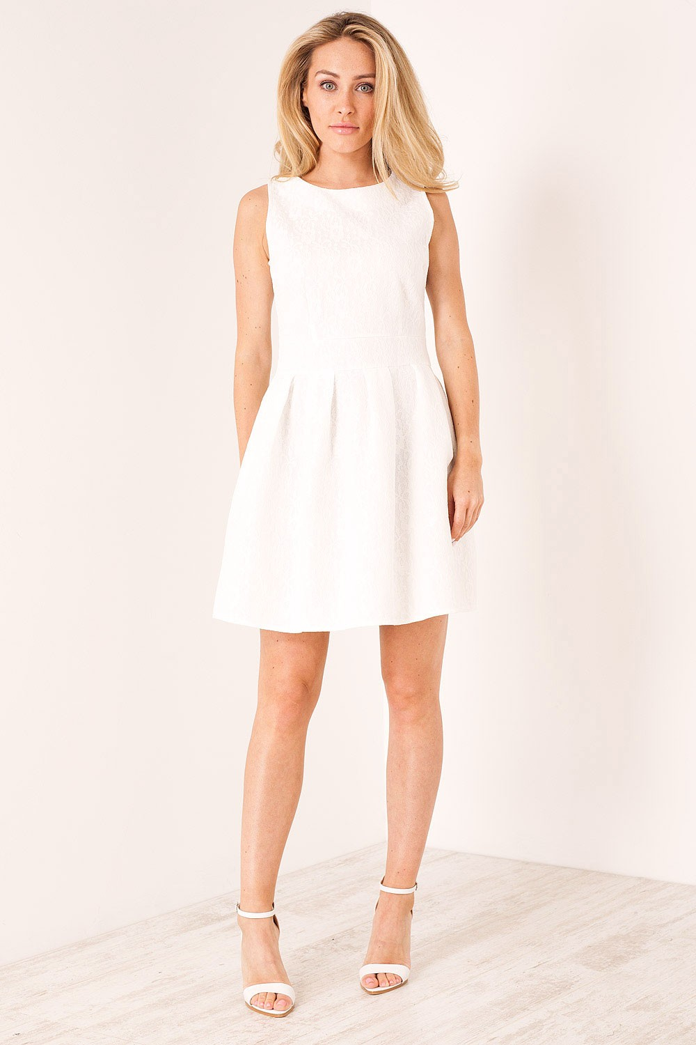 Shikha Sarah Lace Skater Dress In White Iclothing