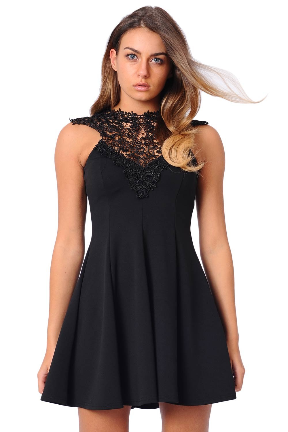 Layla Lace Neck Skater Dress In Black Iclothing