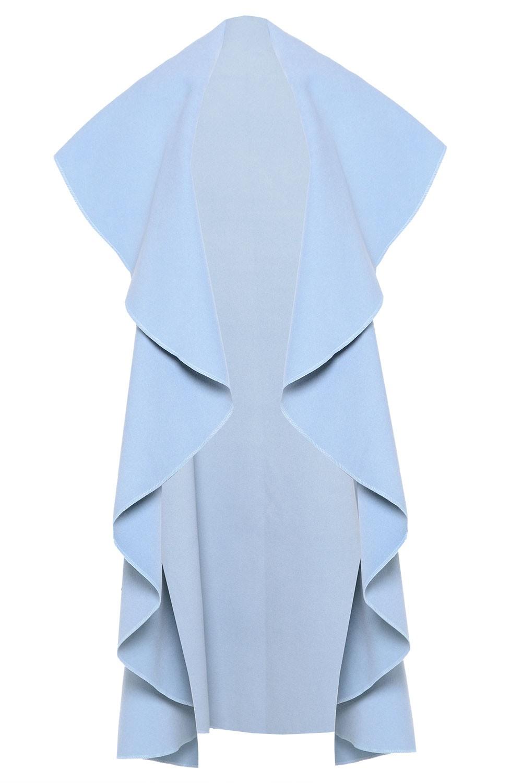 Lyla Waterfall Sleeveless Coat In Sky Blue