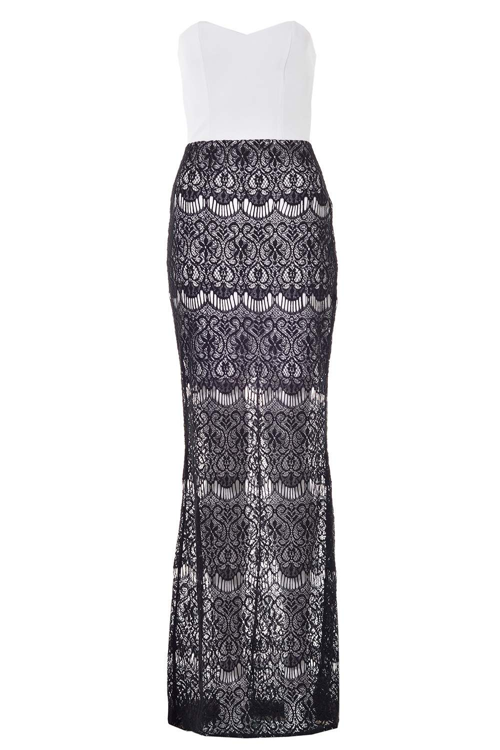 marley bandeau maxi dress with sheer lace skirt iclothing