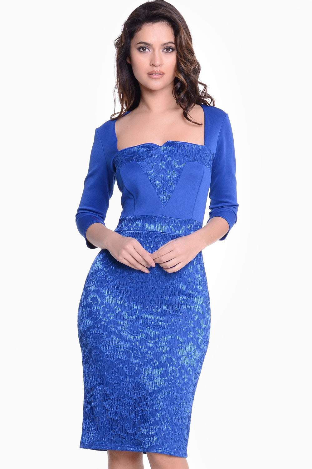 Carmen 3/4 Sleeve Lace Midi Dress in Royal Blue | iCLOTHING