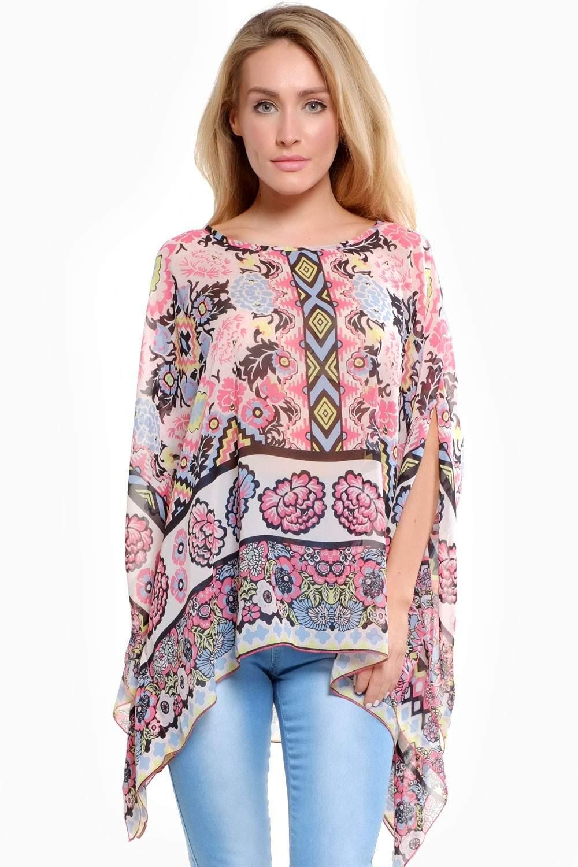 Emma Printed Kaftan Top In Pink Flower Iclothing