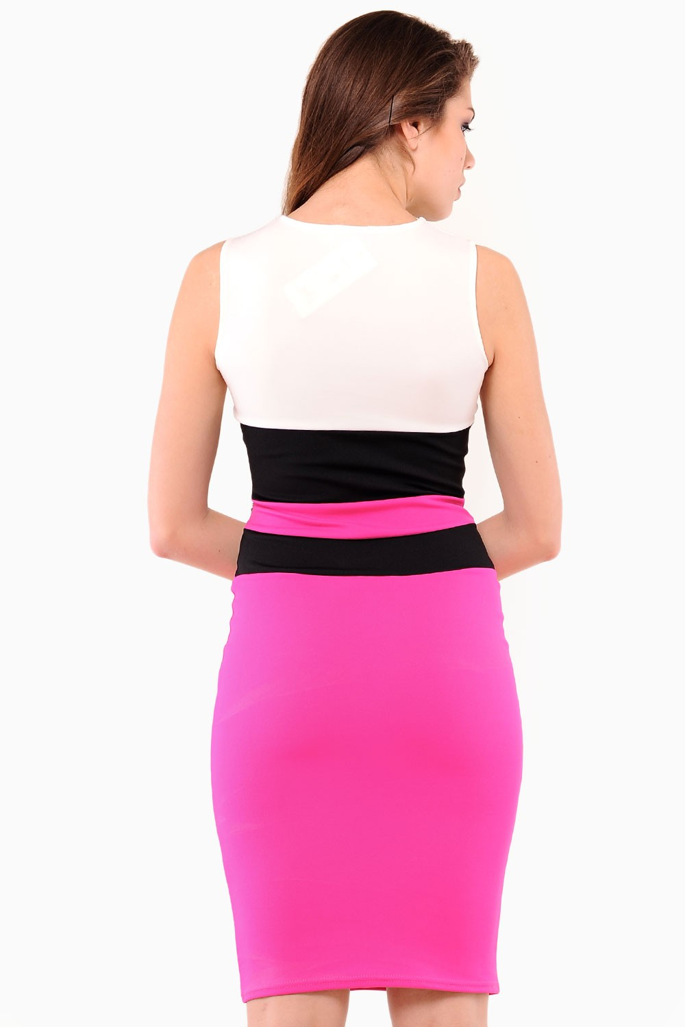 tori colour block midi dress in pink iclothing. Black Bedroom Furniture Sets. Home Design Ideas