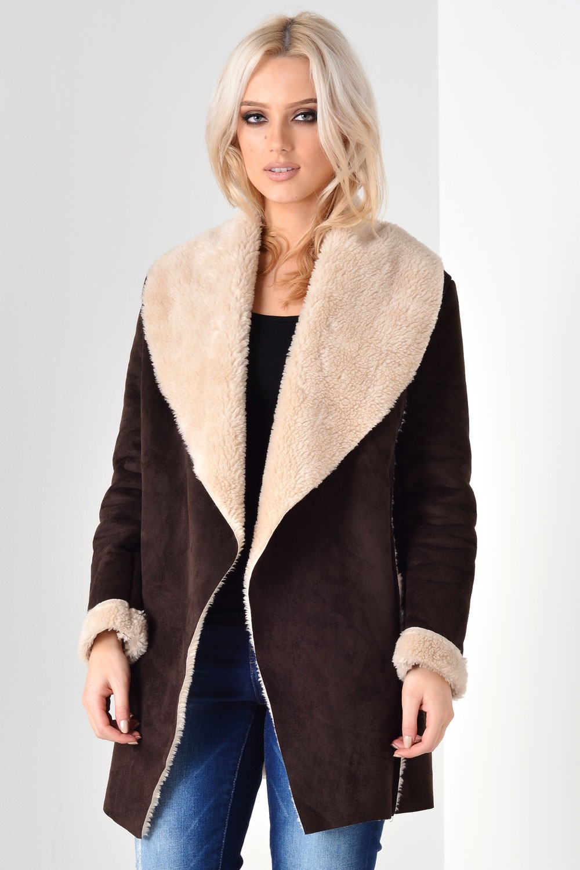 Ingrid Shearling Waterfall Jacket in Brown
