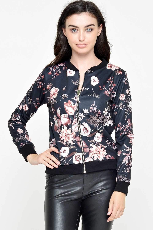 USCO Gianna Floral Bomber Jacket in Black | iCLOTHING