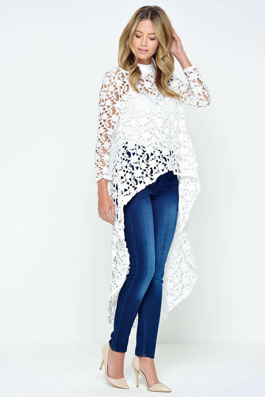 0f3bd14f04808 Paris Amelia Dipped Hem Crochet Top in White | iCLOTHING