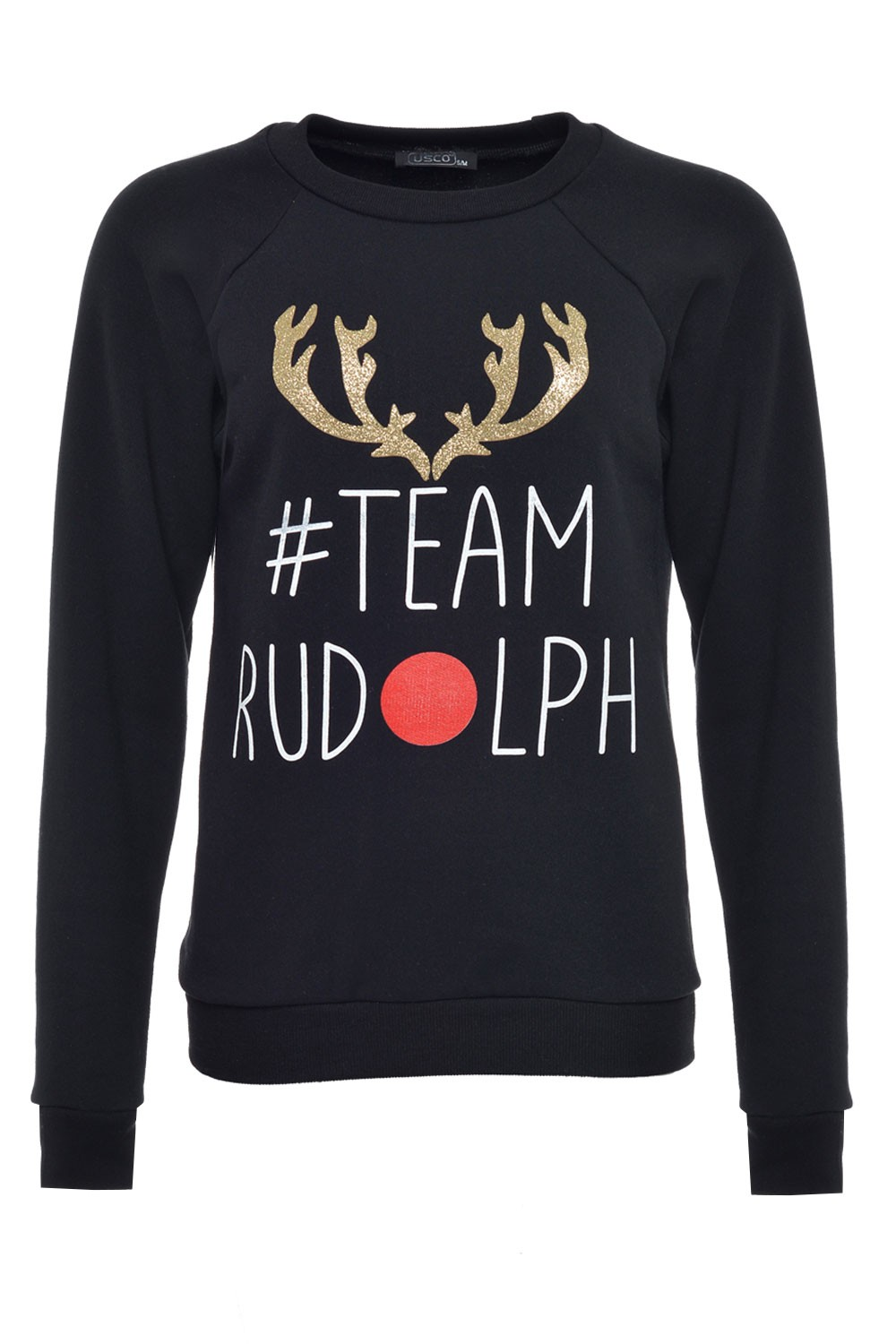 USCO Team Rudolph Christmas Sweater in Black