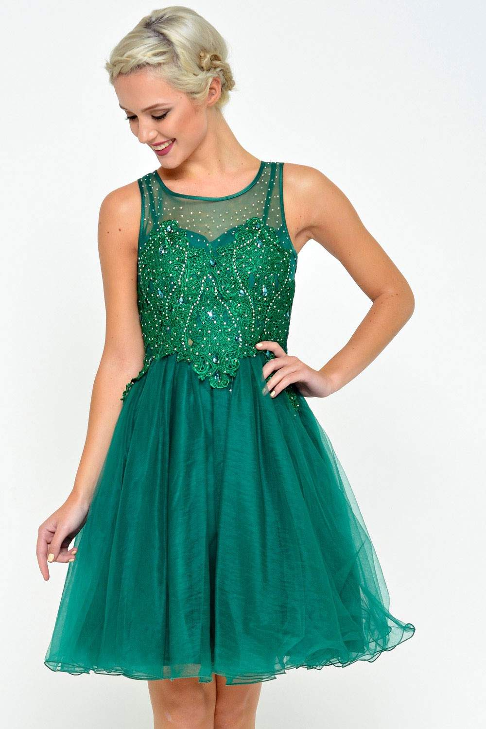 Charms Anna Embellished Tulle Prom Dress in Emerald | iCLOTHING