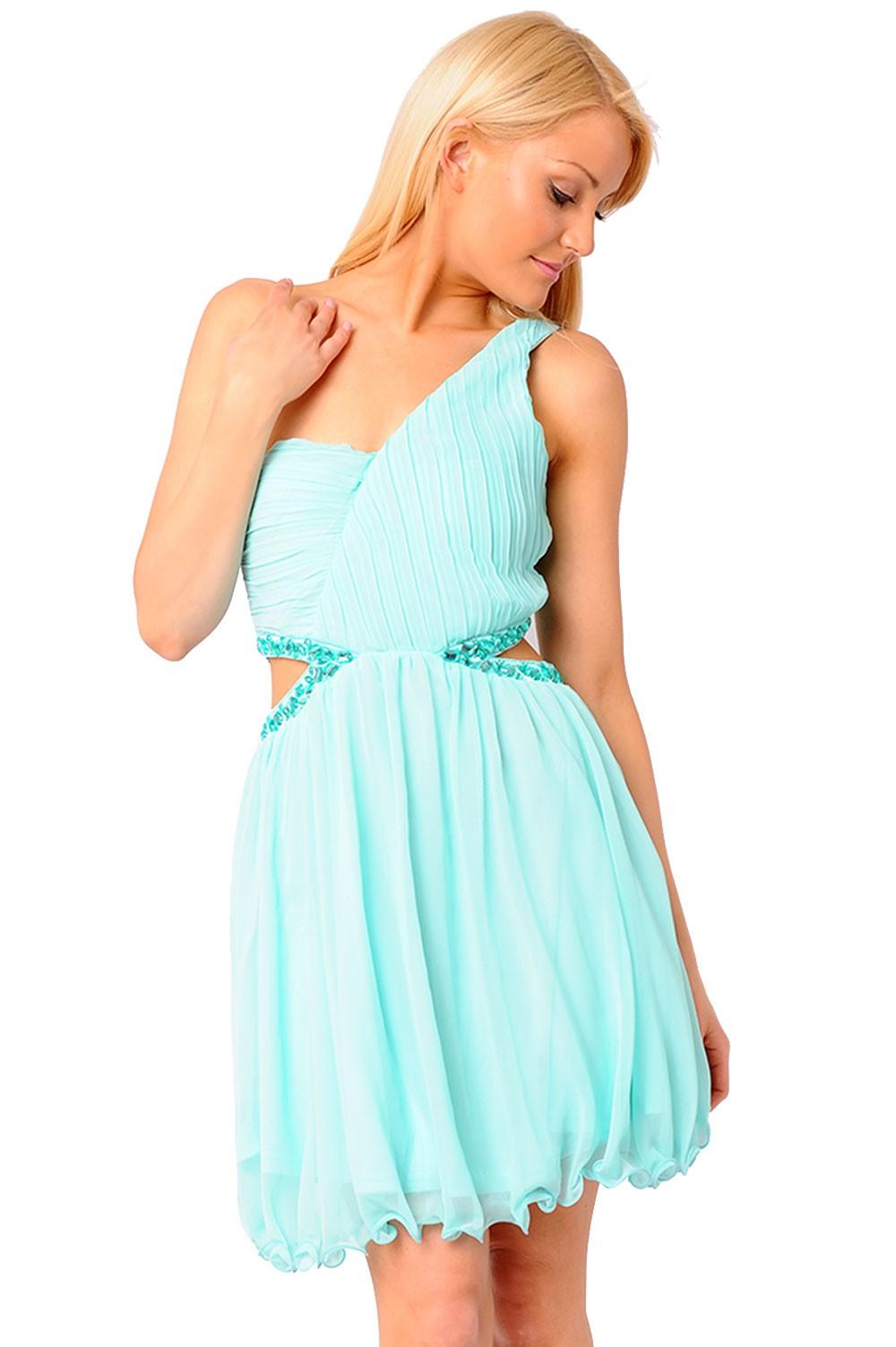 AX Paris Jules One Shoulder Cut Out Waist Dress   iCLOTHING