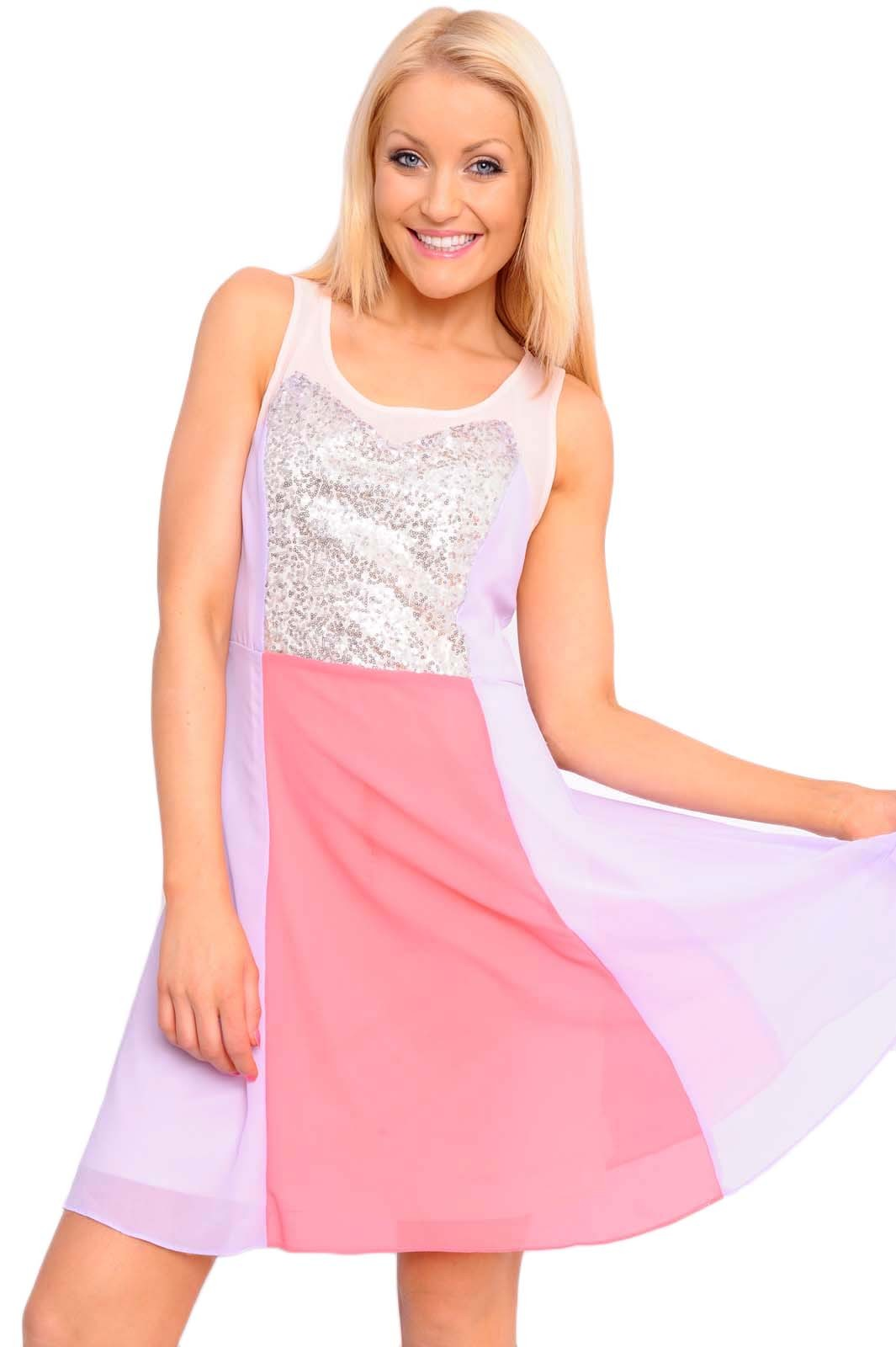 maddie sequin panel colour block dress in pink iclothing. Black Bedroom Furniture Sets. Home Design Ideas