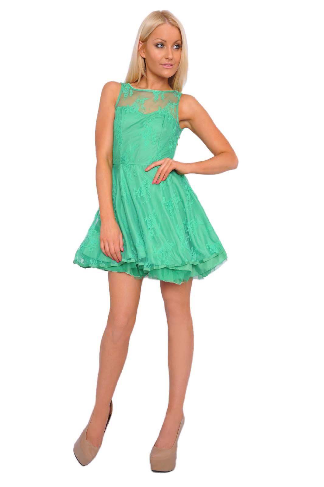 AX Paris Sade Lace Kick Out Skater Dress in Green   iCLOTHING