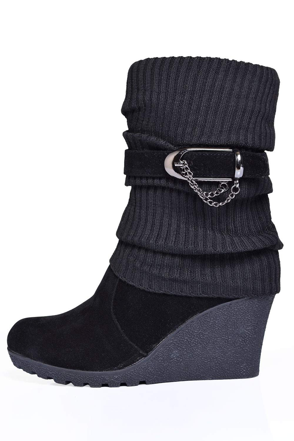 247 nene suede and knit wedge boots in black iclothing