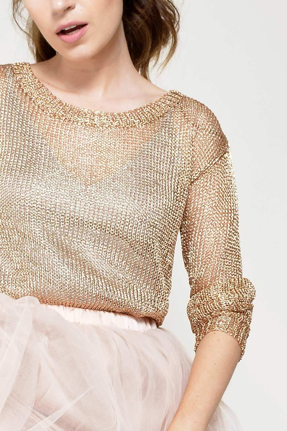 Glamorous Tina Loose Knit Sweater in Rose Gold | iCLOTHING