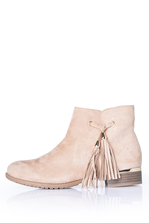 indigo footwear phoebe tassel ankle boots in beige suede