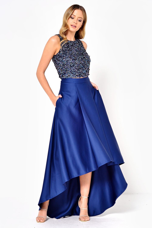 7b78968eabaa Soho Market Celine Satin High Low Skirt in Navy
