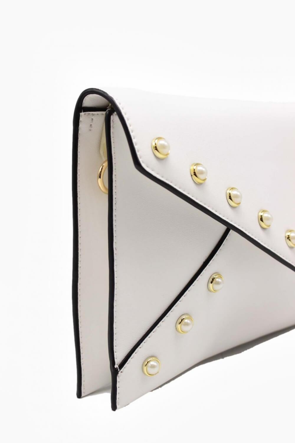 1f0c30f43e More Views. Eve Clutch Bag with Stud Detail in White