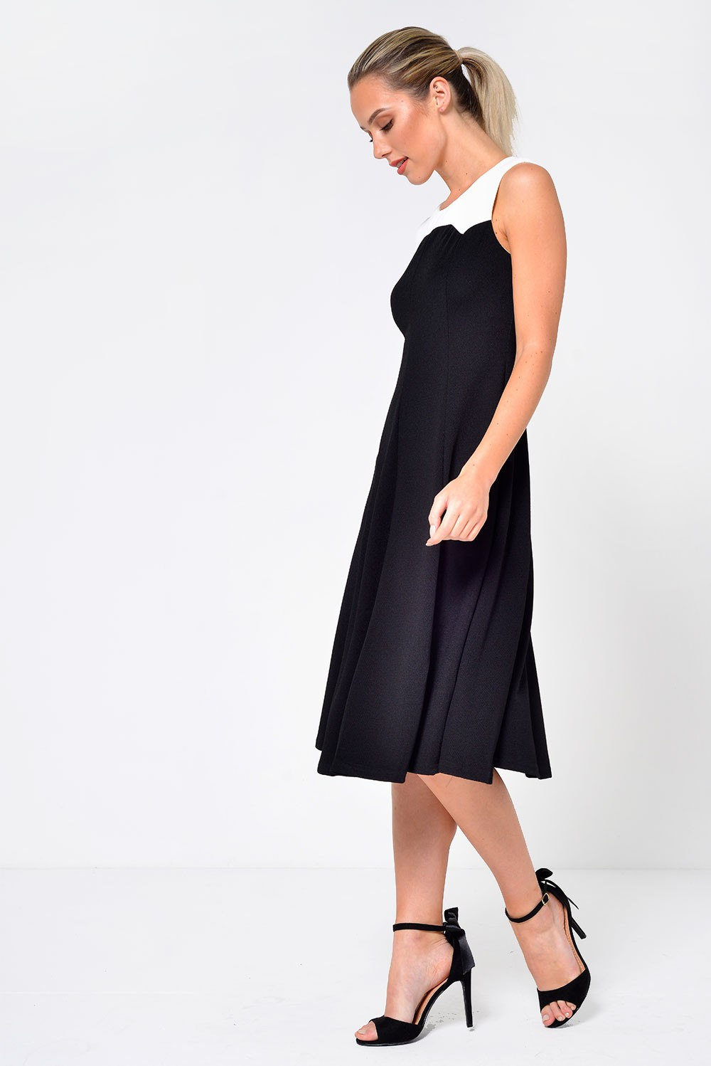 stella sissy fit to flare dress in black | iclothing