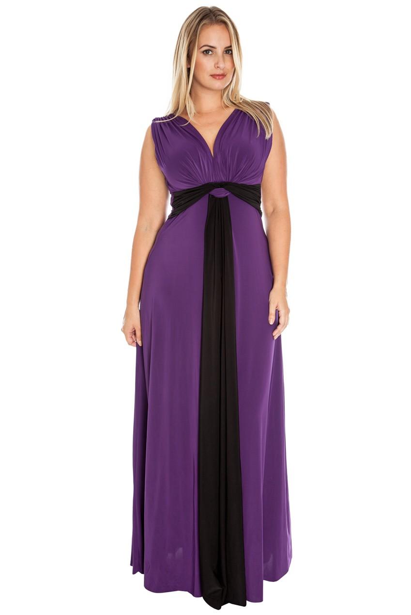 Maia Draped Grecian Maxi Dress in Purple   iCLOTHING