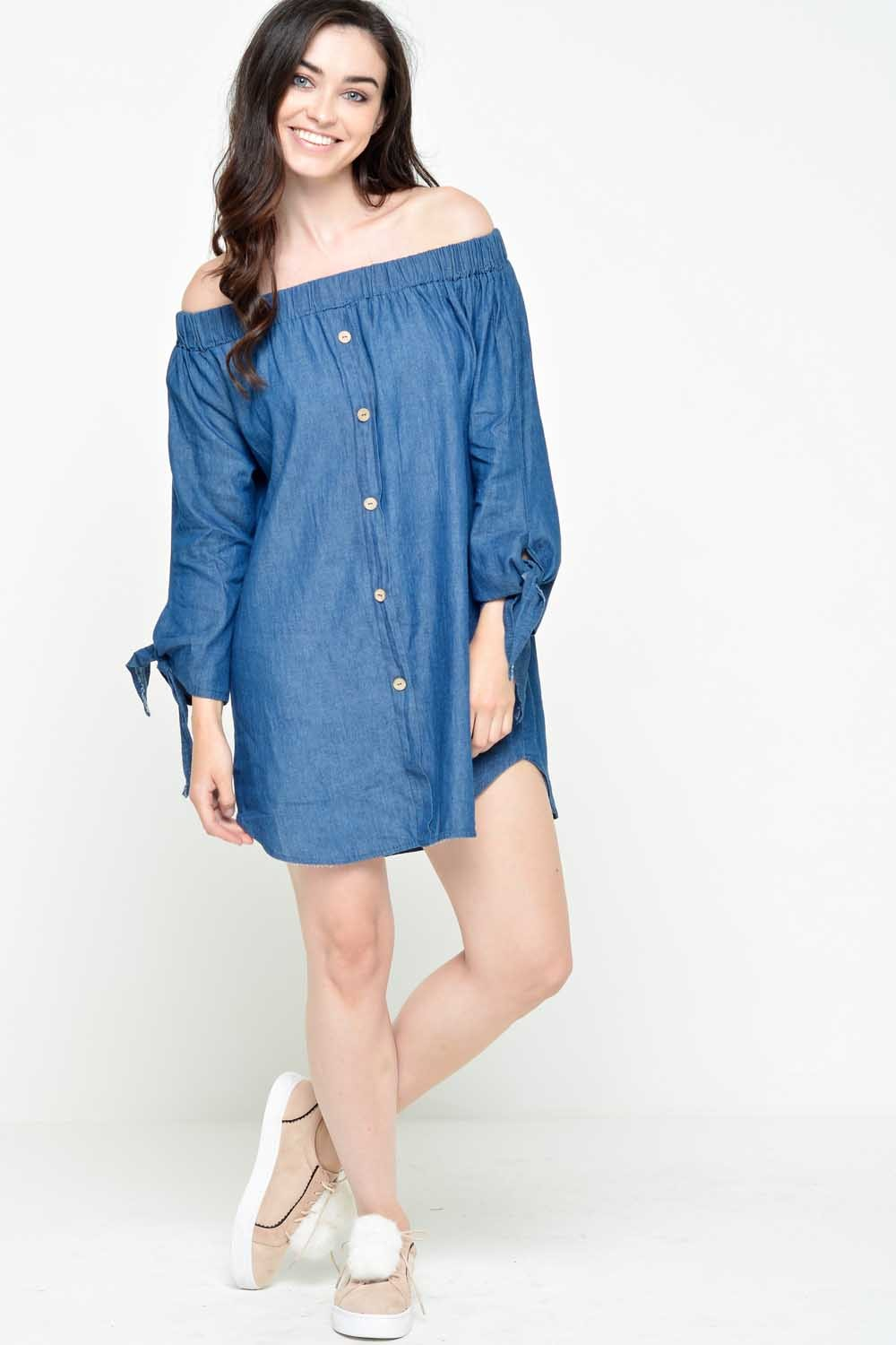 251c189c1b More Views. Carol Off Shoulder Dress in Medium Denim