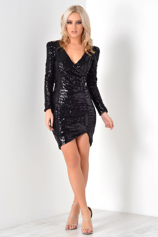 Ax Paris Patsy Sequin Wrap Front Bodycon Dress In Black