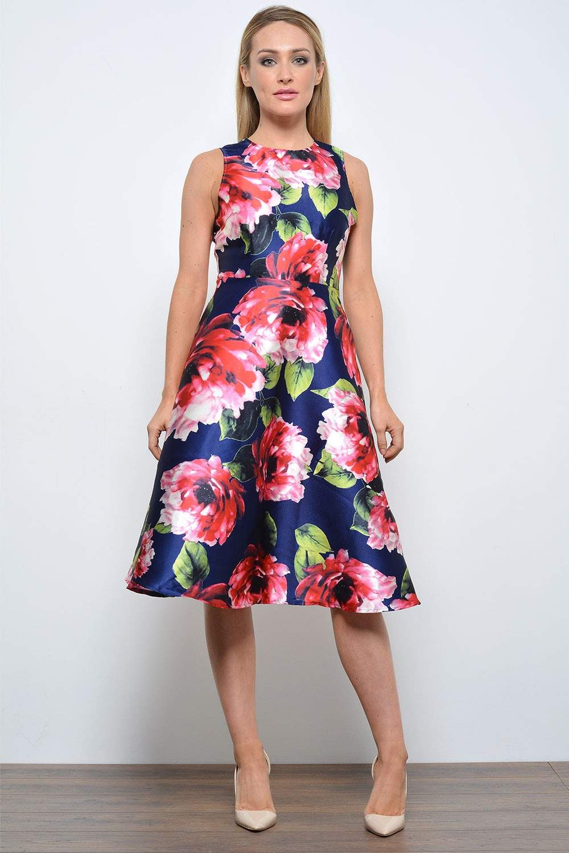 AX Paris Tracy Floral Print Midi Skater Dress | iCLOTHING