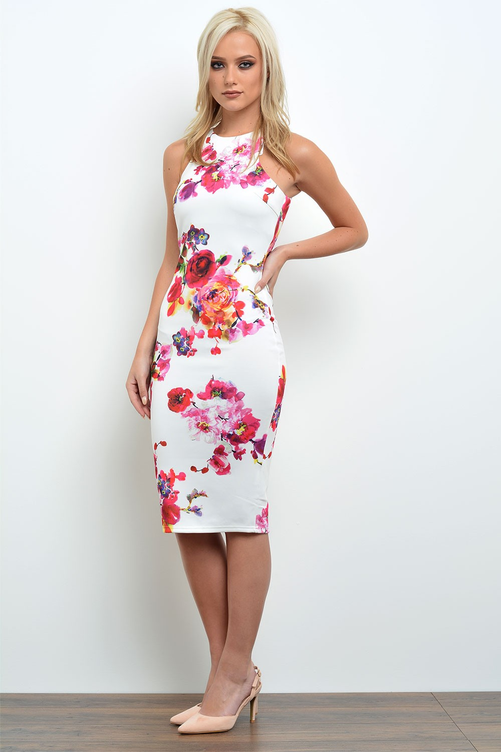 Holly Floral Printed Bodycon Dress in Cream