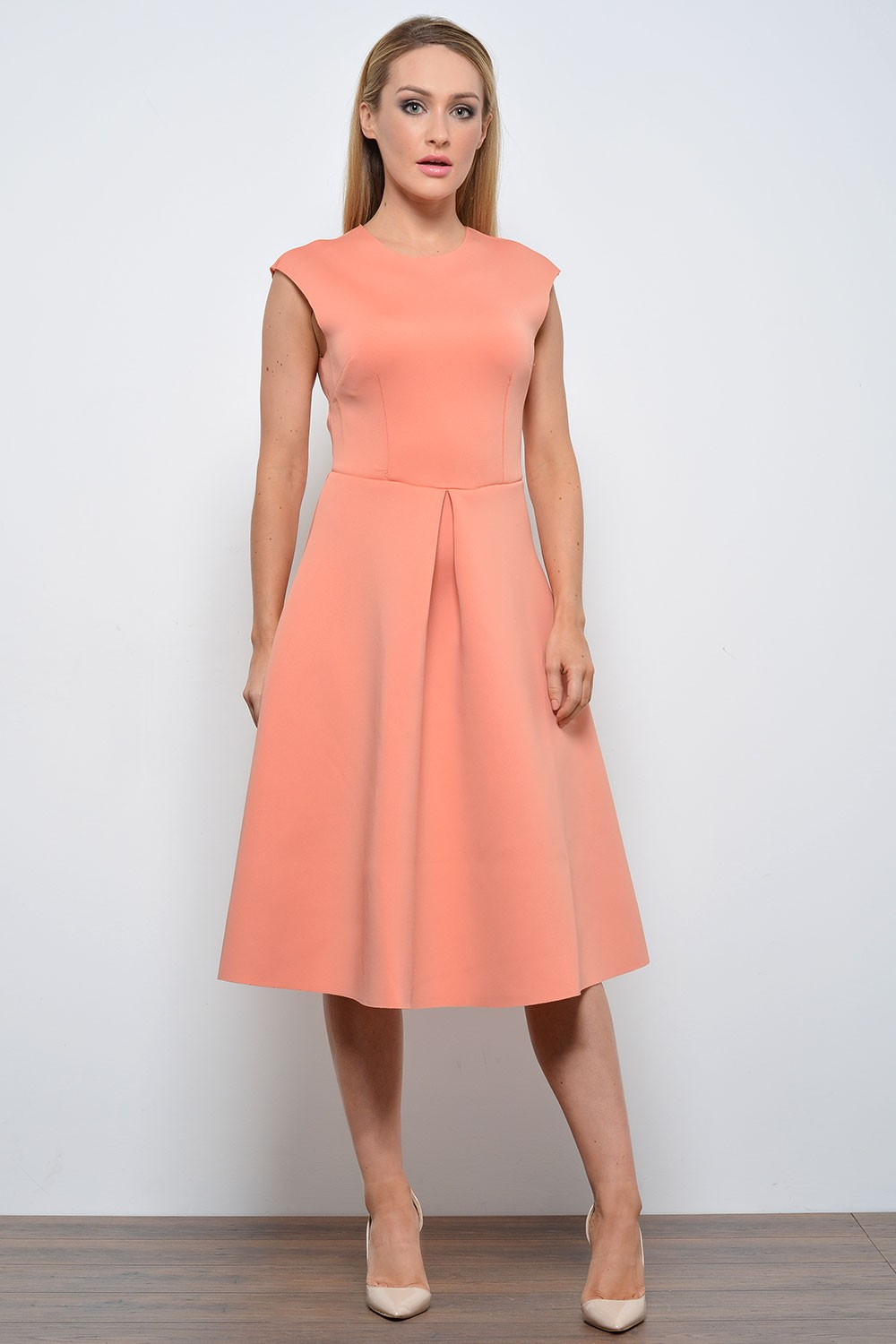 Pamela Scuba Midi Skater Dress in Peach