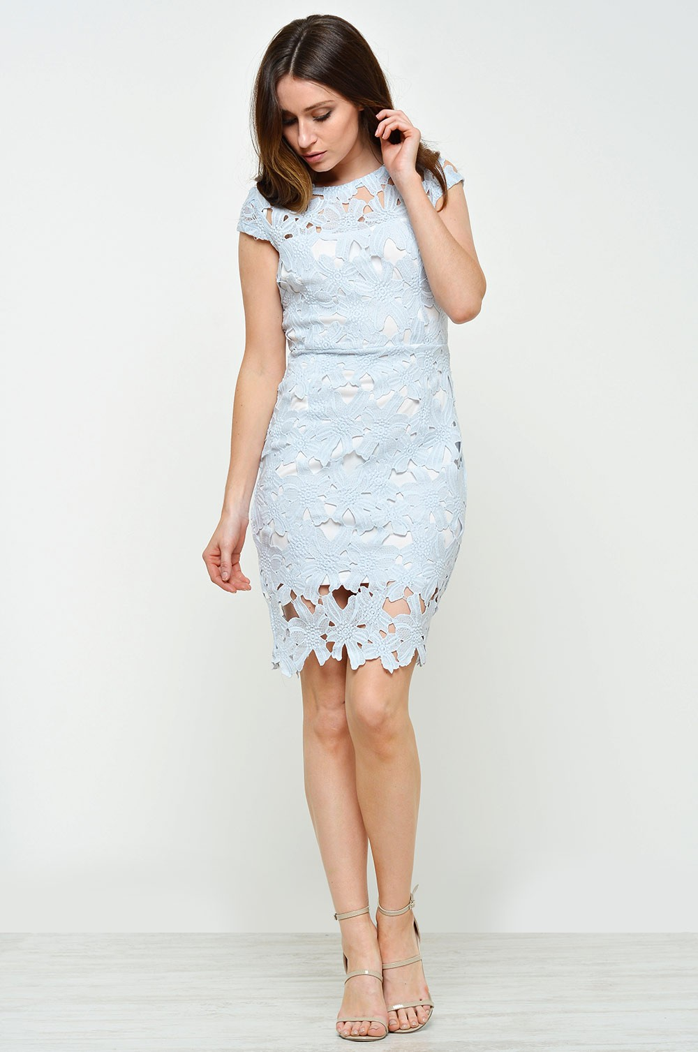 Ax Paris Leia Capped Sleeve Crochet Dress In Blue Iclothing