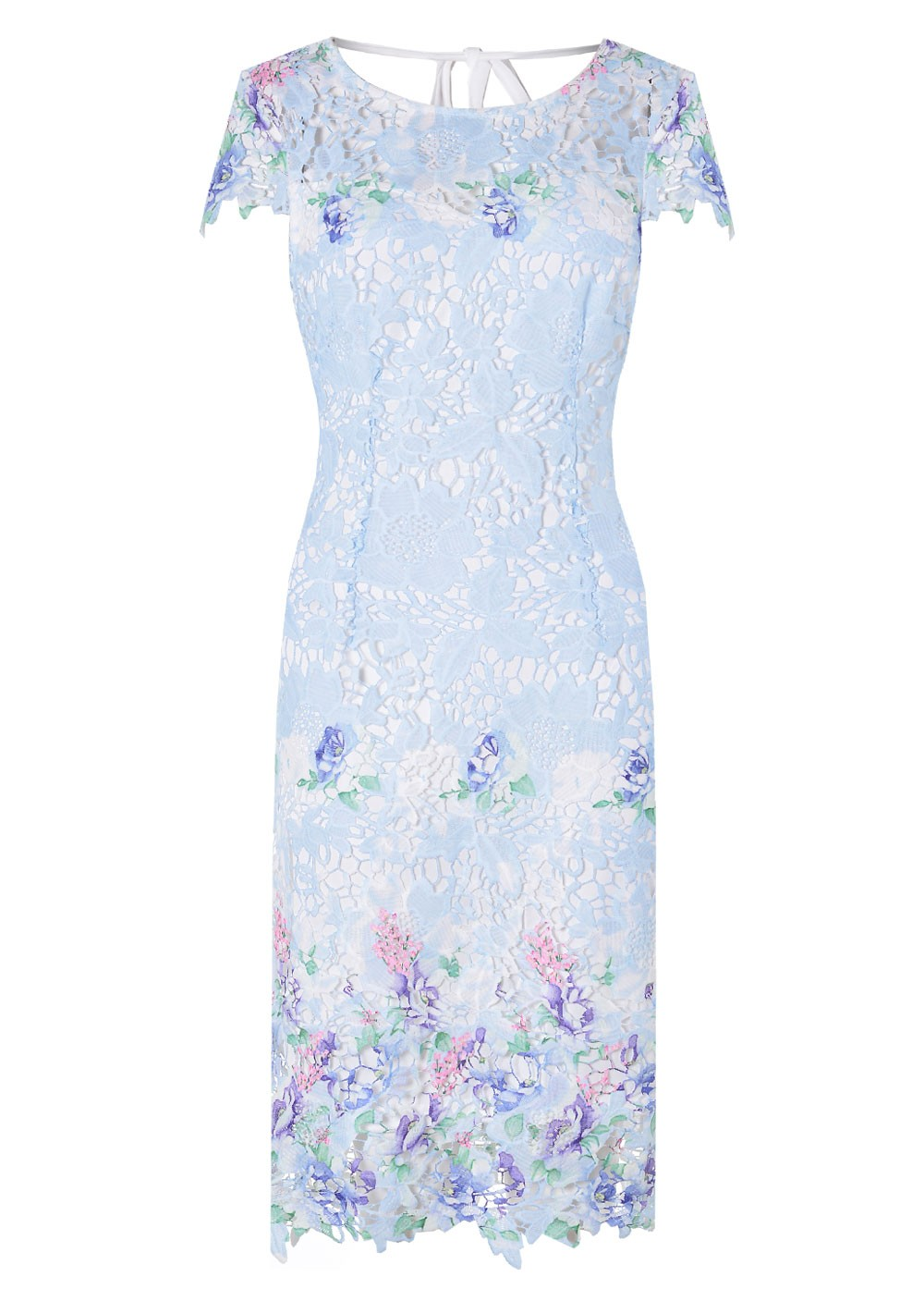 Stella Jess Floral Lace Dress In Light Blue Iclothing
