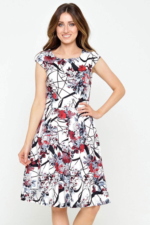 Tania Multi Print Skater Dress in White