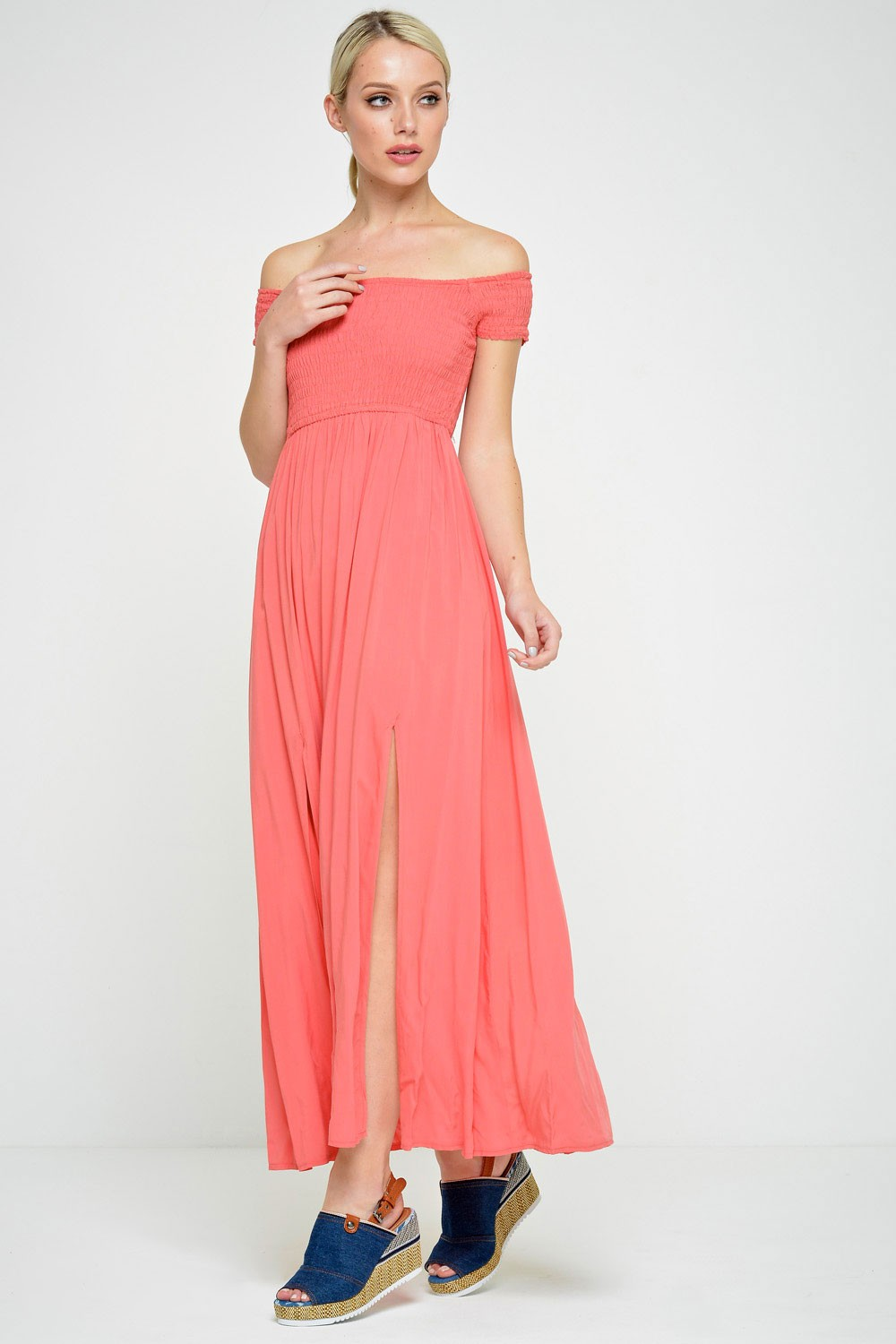 Stella Pia off Shoulder Maxi Dress in Coral | iCLOTHING