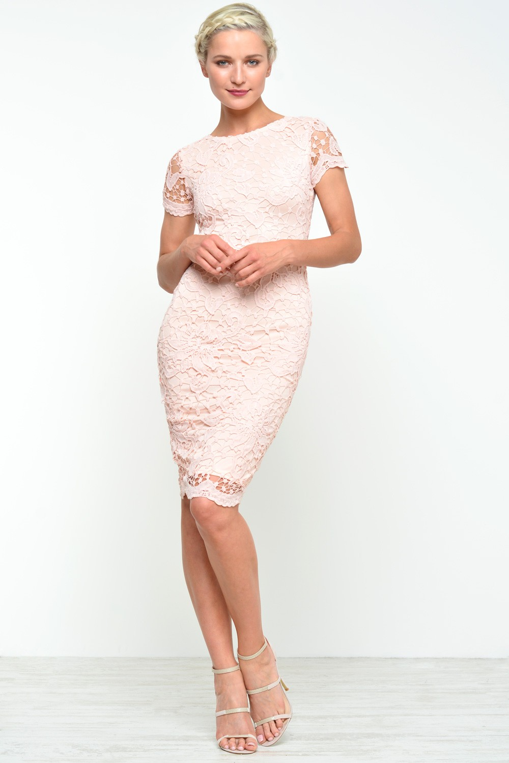 Ax Paris Adele Crochet Lace Midi Dress In Pink Iclothing