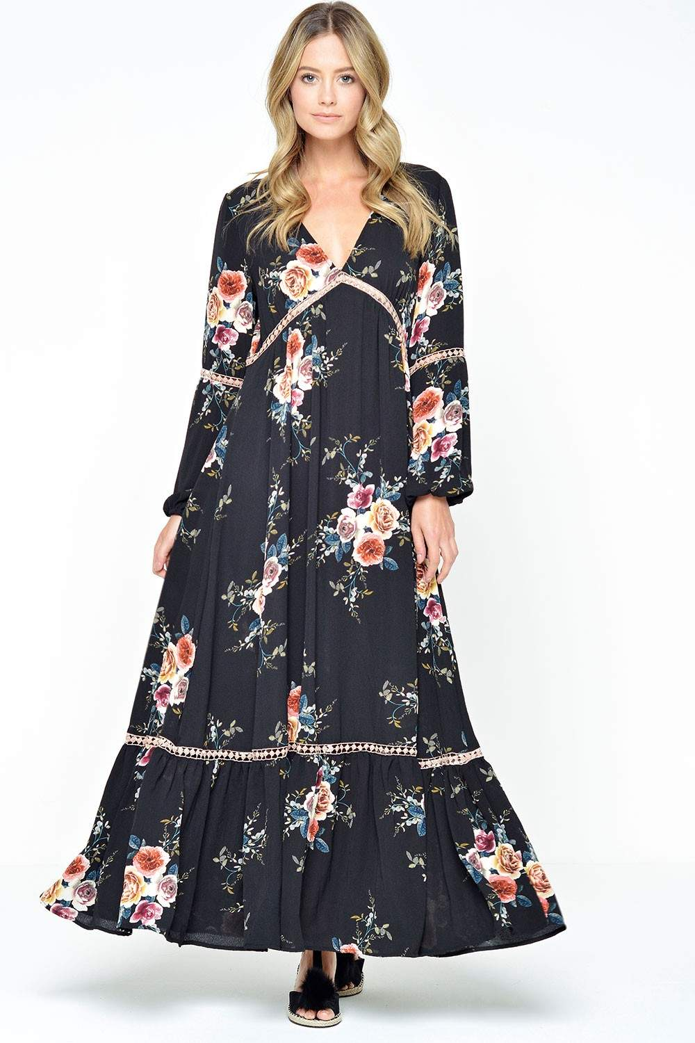 Stella Ivanka Boho Maxi Dress In Black Iclothing