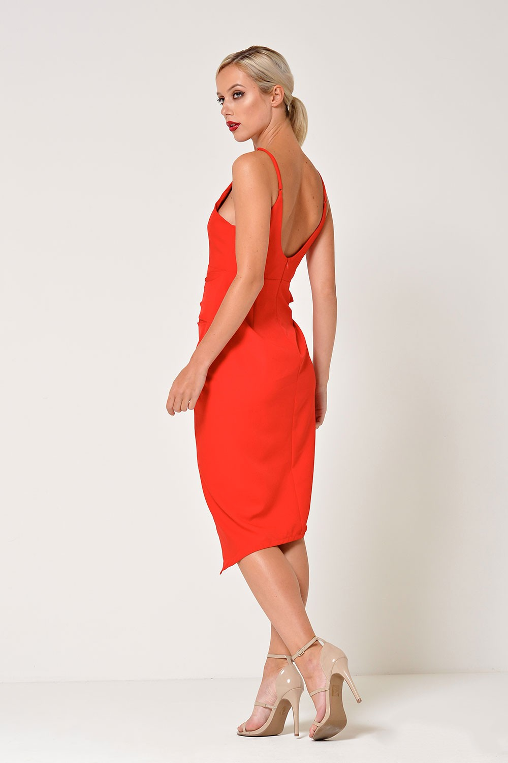 58205529 Stella Zara Strappy Knot Dress in Red | iCLOTHING