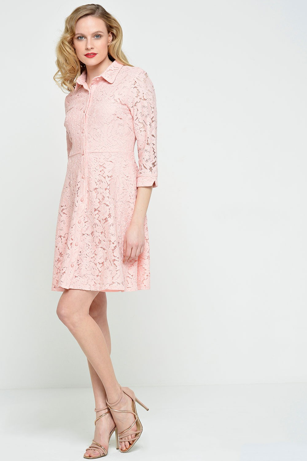 6ae50b501e63 Goddiva Polly Lace Shirt Dress in Pink