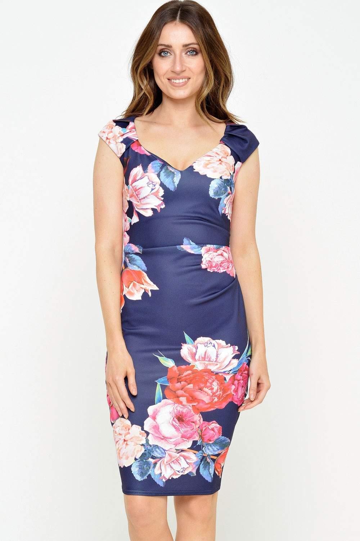 Deana Sweethear Floral Midi Dress in Navy