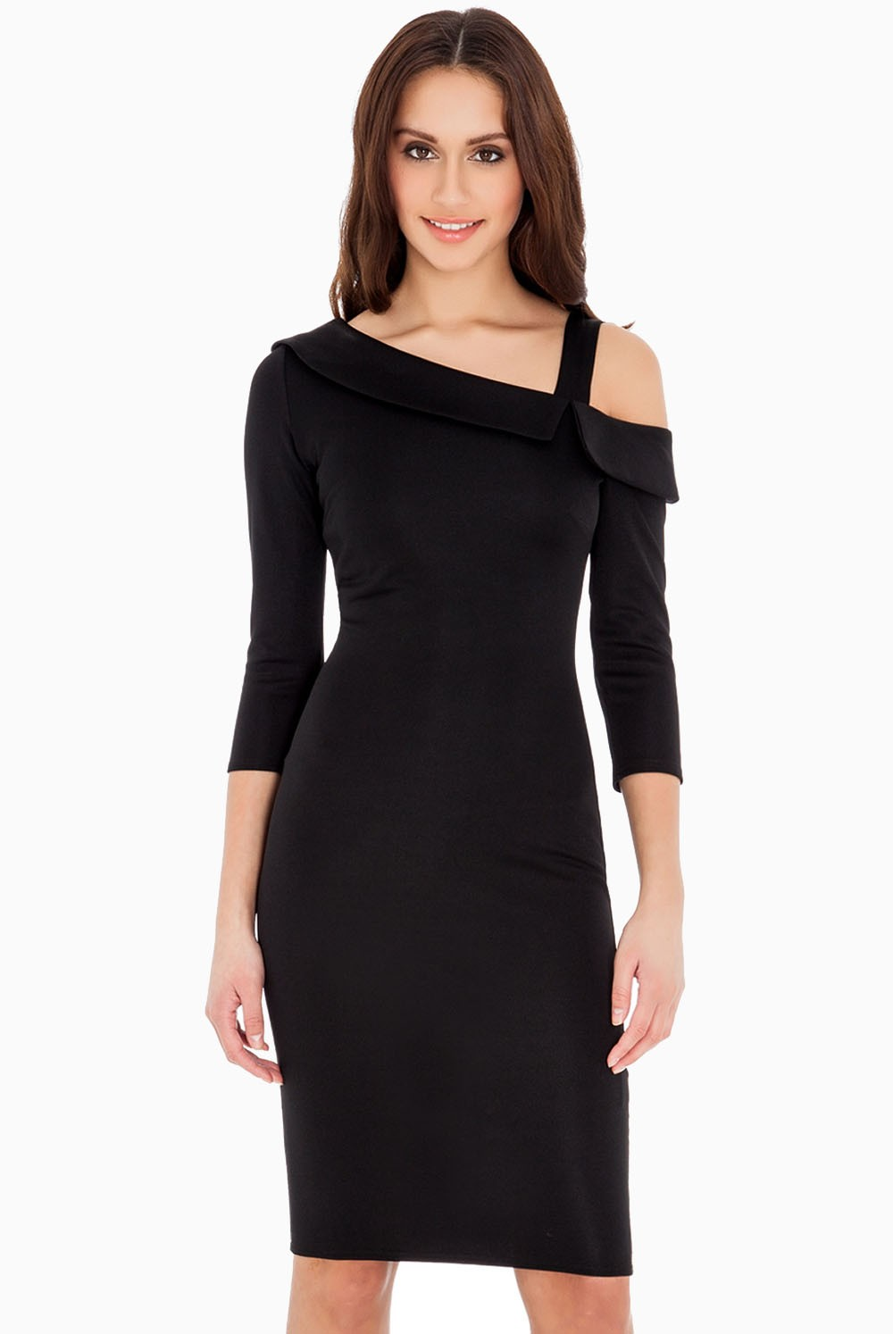 Pearl Fitted Midi Dress in Black | iCLOTHING