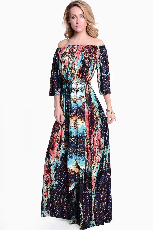 Goddiva Ashlee Psychedelic Print off the Shoulder Dress ...