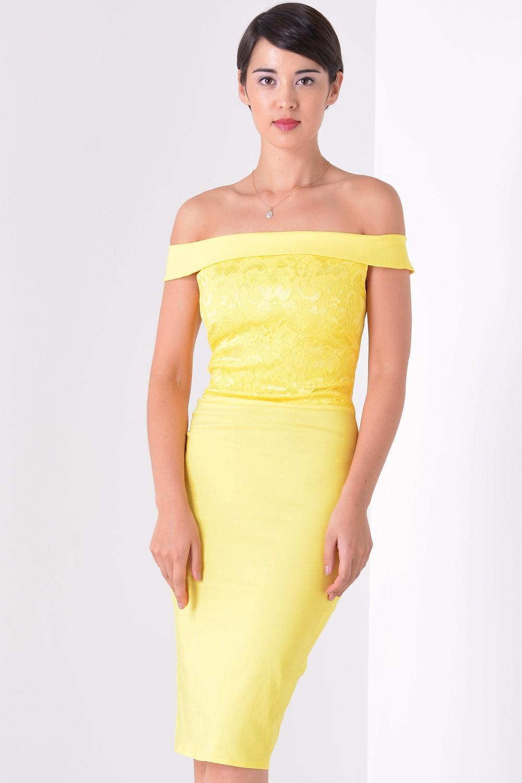 780e11a2ba49 Goddiva Suki Off The Shoulder Dress in Yellow