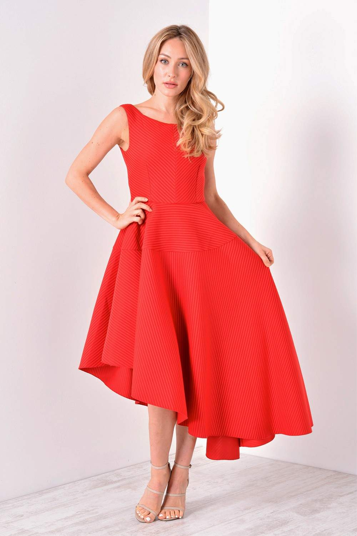 Goddiva Vicki Asymmetric Textured Midi Dress in Red ...
