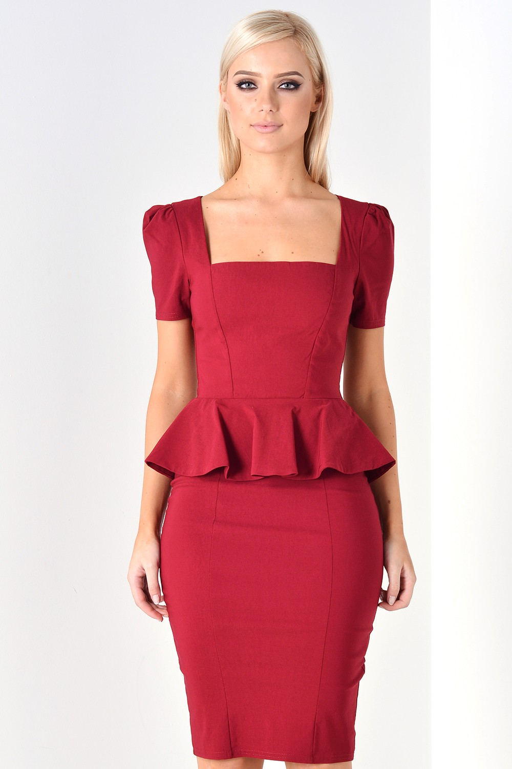 Goddiva Amari Peplum Midi Dress In Wine Iclothing