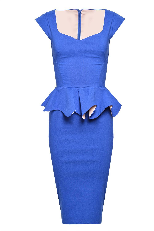 Linda Frill Peplum Pencil Dress in Royal Blue (dresses)
